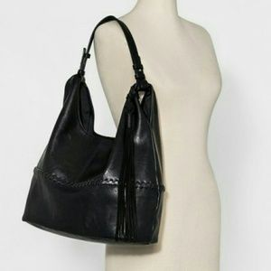 Large dv Black Leather Hobo Purse. D